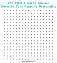 The first 3 words you see describe your crafting personality! Ready? GO! :)