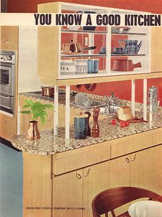 Nice to display all my vintage Pyrex! Still allows for light to pass thru & not give that closed feeling.   1964 Kitchens | Flickr - Photo Sharing!