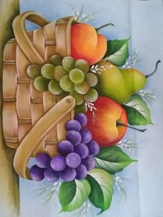 Frutas frescas Fruit Painting, China Painting, Tole Painting, Painting For Kids, Fabric Painting, Watercolor Paintings, Fruits Drawing, Painting Patterns, Art Pictures