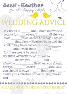 Wedding Advice Mad Libs Custom Designed cards for Reception via Etsy.