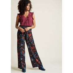 Pocketed Wide-Leg Pants ($35) ❤ liked on Polyvore featuring pants, floral print wide leg pants, wide leg pants, floral sash belt, floral printed pants and tie waist trousers