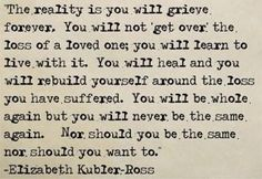 You will learn to go on, but never forget...so true