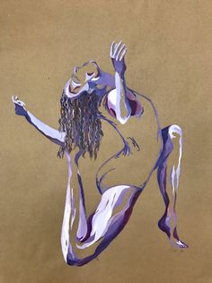 Painting of a dancing girl. Acrylic on bogus paper. Artist: Sofija Kristine Ninness