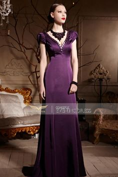 Glamorous purple long #eveningdress with handmade beading. How many likes for it? #partydress #wedding #eveninggown #gown #2016prom