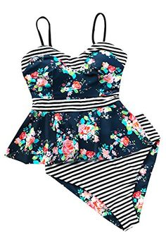 1e680e6324b36 Women's Explorer Print Falbala Hem High Waisted Bikini Set Tankini