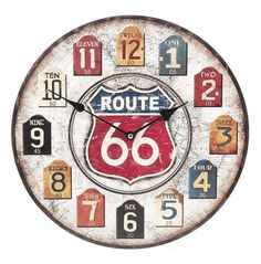 "13.5"" Route 66 Wall Clock MDF Wood Lightweight MDF wood clock Paper decal clock face of a globe Measures 13.5"" round Requires 1 AA battery, not included"