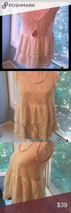 Free People lace tunic Super cute antique looking kace with a beautiful off white/gray coloring. Sheer lace in the top double lace bottom. Free People Tops Tunics