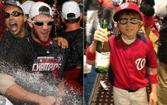 Bryce Harper celebrated NL East title by pouring apple cider on a kid and beer on his teammates (US Presswire/@HoldenRadio)