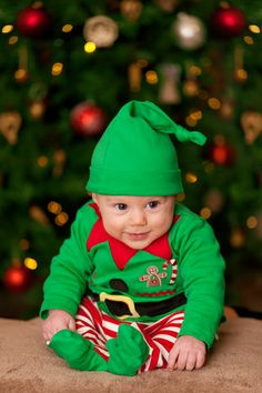 Looks like this little guy might be Santa's youngest helper!