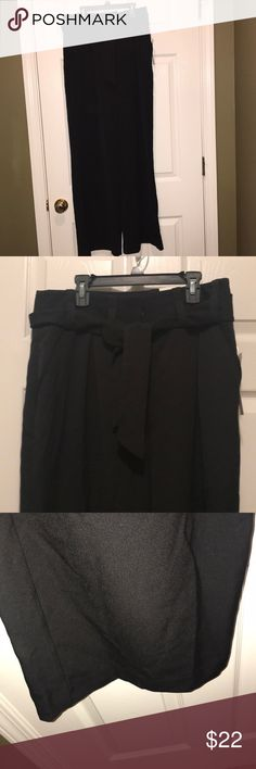 Black trousers with wide legs Apt 9 black trousers. Belted. Ava fit. Size 10. These are really cute, but I'm too short for this style pants. Apt. 9 Pants Trousers