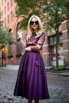 purple satin midi: This skirt is cute!