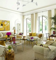 Bright pops of color liven up this living room.
