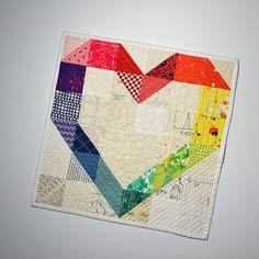 Rainbow Wall Hanging Heart Quilt Heart Wall Hanging Mini