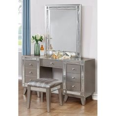 """Features:  -Jaqueline vanity desk and stool. Dimensions:  Overall Height - Top to Bottom: -30.75"""".  Overall Width - Side to Side: -55"""".  Overall Depth - Front to Back: -16.5"""".  Overall Product Weight:"""