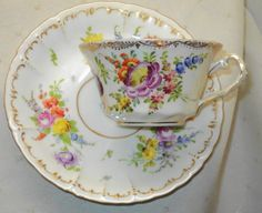 DRESDEN ANTIQUE ROSE GARLAND BUDS TEXTURED TEA CUP AND SAUCER