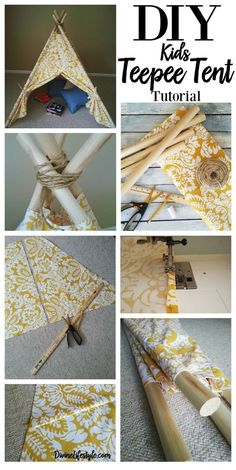 DIY Kids Teepee Tent Tutorial Pinterest
