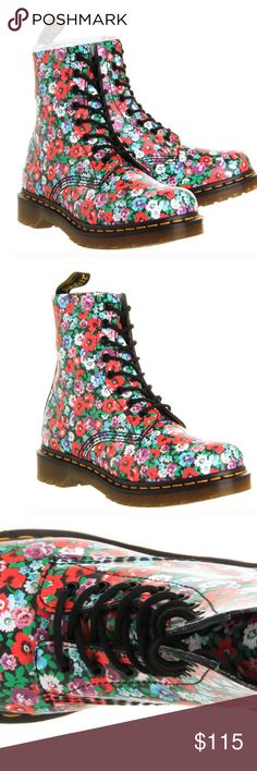 Dr. Martens Pascal Black Wild Poppy Boots- NEW With its uppers made from a beautiful and colourful wild poppy print leather, these Dr Martens'  Pascal have a contemporary look combined w/ Dr Martens reliability & comfort.  An 8-eyelet, shiny black ringed, lace-up front over a soft, flexible tongue, fastened with rounded black laces. The inside is leather & textile lined w/ a padded insole for your comfort, with original Dr Martens air-cushioned sole. New without tags. Size 6. Dr. Martens…