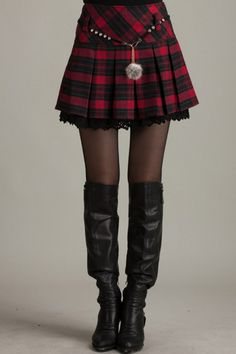 So cute with the little puff! Plaid Pleated High Waist Skirt OASAP.com