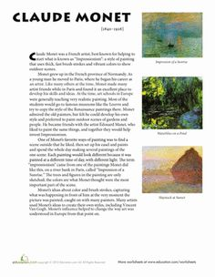 Use this art worksheet to learn more about Monet and practice using one of his painting techniques!Use this art worksheet to learn more about Monet and practice using one of his painting techniques! Artist Monet, Artist Art, Art History Lessons, Art Lessons, Claude Monet, Art Handouts, Art Worksheets, School Art Projects, Art Lesson Plans