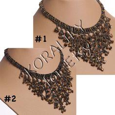 Modern Ukrainian Handmade Beaded Jewelry NECKLACE Waterfall Gerdan With Tiger's Eye Stones: Bronze /GOLD or Bronze /BLACK