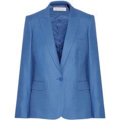 Stella McCartney Ingrid wool-piqué blazer (31 195 UAH) ❤ liked on Polyvore featuring outerwear, jackets, blazers, blazer, stella mccartney, blue, slim fit jacket, wool jacket, slim blazer jacket and slim fit one button blazer