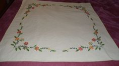 Vintage Floral Embroidered Tablecloth Tan Color Hand Made