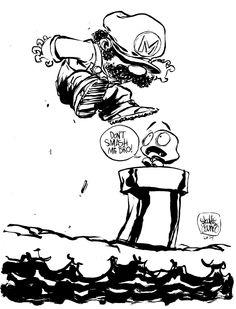 """#DailySketch """"Don't smash me bro!"""" Original sketch available in my shop http://skottieyoungstore.bigcartel.com"""