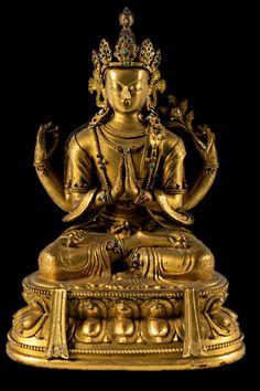 Tibetan Buddhist Statue of Four-Arms Chenrezig aka Avalokiteshvara, Bodhisattva of Compassion, ca. Tibetan Art, Tibetan Buddhism, Buddhist Art, Buddhist Practices, Four Arms, Gautama Buddha, Guanyin, Gods And Goddesses, Deities