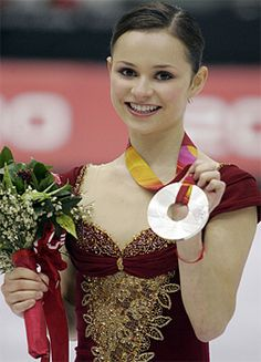 Sasha Cohen (USA) with the silver medal she earned at the 2006 Olympics in Turin, Italy.