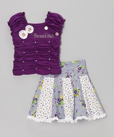 Love this Purple Ruched 'Princess' Tee & Floral Skirt - Toddler & Girls by Blue Curl on #zulily! #zulilyfinds