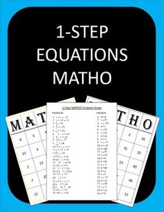 1 Step Equations Bingo: Students have fun practicing solving 1 step equations while playing Bingo! I call it MATH-O. This file includes 25 1 step equations problems(including fractions, negatives, a few nice decimals), an answer key, and 30 different MATH-O cards.