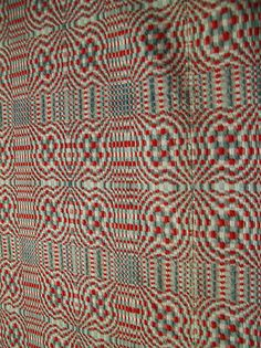 19th Century Handwoven Overshot Wool Linen Coverlet in Red French Blue Cream   eBay
