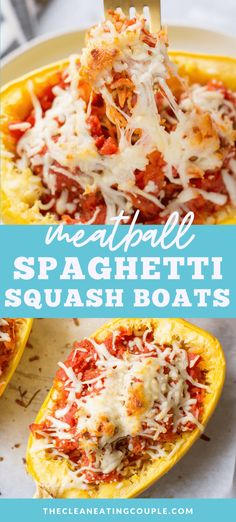 Meatball Spaghetti Squash Boats are an easy, low calorie, gluten free dinner. Low carb, cheesy + loaded with baby meatballs – they're delicious! Spaghetti Squash Boat, Spaghetti Squash Recipes, Spaghetti And Meatballs, Healthy Turkey Recipes, Real Food Recipes, Lunch Recipes, Free Recipes, Recipes Dinner, Yummy Recipes