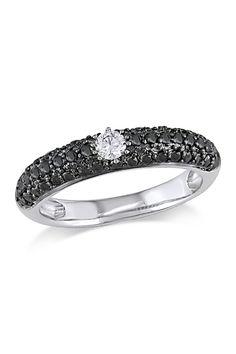Two-Tone Black  White Diamond Fashion Ring - 0.50 ctw/