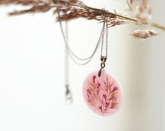 pink real pressed flowers pendant