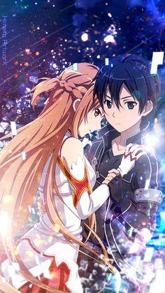 Asuna and Kirito - Anime Paare Sword Art Online Asuna, Love Couple Wallpaper, Love Wallpaper, Animé Romance, Schwertkunst Online, Espada Anime, Sao Anime, Sword Art Online Wallpaper, Kirito Asuna