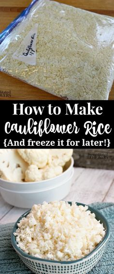Learn How to Make Cauliflower Rice using these tips on how to rice cauliflower 4 ways, how to cook it, how to store it, plus how to freeze cauliflower rice. Raw Food Recipes, Veggie Recipes, Low Carb Recipes, Cooking Recipes, Healthy Recipes, Canned Vegetable Recipes, Free Recipes, Freezer Cooking, Healthy Foods