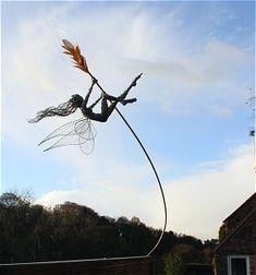 Robin Wight - Into the future Wind Sculptures, Sculpture Art, Robin Wight, Fantasy Wire, Street Art, Fairy Figurines, Woodland Creatures, Fairy Art, Garden Ornaments