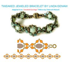 Free Beaded Bracelet Pattern! http://www.aroundthebeadingtable.com/Tutorials/LindasJeweled.html