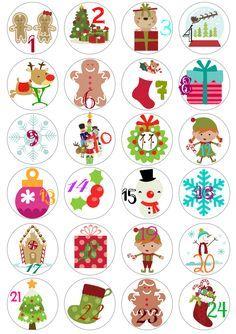 Christmas Advent Calendario freebie printable / etiquetas para Calendario de adviento imprimibles