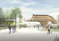 坂茂建築設計 / Shigeru Ban Architects 『パリ・クロード・ベルナール歩道橋』  http://www.kenchikukenken.co.jp/works/1300244164/1496/