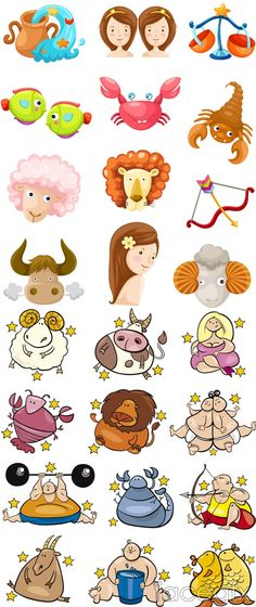 2 sets of cute cartoon 12 constellation vector