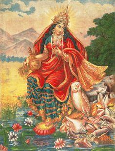 Lakshmi with her owl Chromolithograph, Calcutta Art Studio (via Ashmolean Museum, University of Oxford) Source:Hindu Cosmos Saraswati Goddess, Goddess Lakshmi, Lord Krishna Images, India Art, Indian Art Paintings, Hindu Deities, God Pictures, Indian Gods, Gods And Goddesses