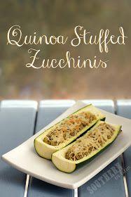Pesto Quinoa Stuffed Zucchini Boats with Parmesan Cheese