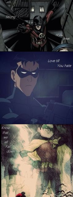 this is something painful...Red Robin (Jason Todd?), Dick Grayson/Nightwing, and Damian Wayne/Robin