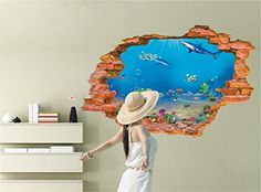 Winhappyhome 3D Underwater World Scene Wall Stickers for Bedroom Living Room Background Decor Removable Decals -- Want additional info? Click on the image.