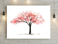 Tree Art  pink tree watercolor painting  Print  Poster