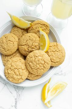 These Vegan Lemon Cookies are infused with fresh lemon juice, vanilla and super moist thanks to almond flour. They are also oil-free and gluten-free. Soft and puffy and deliciously, fragrant cookies. Vegan Treats, Vegan Desserts, Vegan Recipes, Dessert Healthy, Free Recipes, Vanilla Cookies, Lemon Cookies, Vegan Gluten Free Cookies, Vegan Sugar Cookies