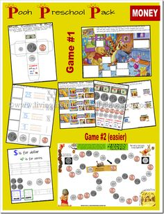 Teach preschoolers (2.5+) - 7 year olds about money with 2 different games! FREE!!