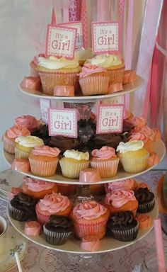 DIY dollar store cupcake stand for shabby chic baby shower